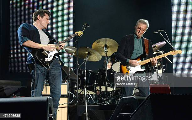 John Mayer and Eric Clapton perform onstage during Eric Clapton's 70th Birthday Concert Celebration at Madison Square Garden on May 1 2015 in New...