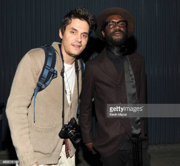 John Mayer and Gary Clark Jr attend The Night That Changed America A GRAMMY Salute To The Beatles at Los Angeles Convention Center on January 27 2014...