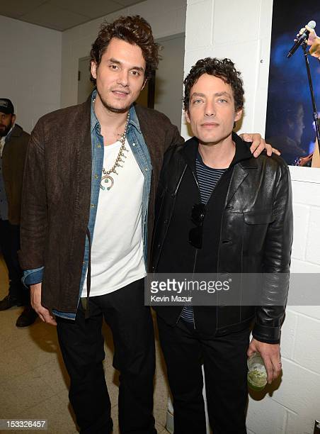 John Mayer and Jakob Dylan backstage at the Love For Levon Benefit To Save The Barn at Izod Center on October 3 2012 in East Rutherford New Jersey