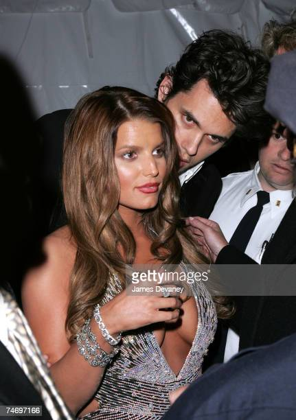 John Mayer and Jessica Simpson at the Metropolitan Museum of Art in New York City New York