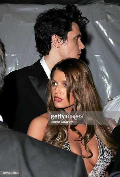 John Mayer and Jessica Simpson during Poiret King of Fashion Costume Institute Gala at The Metropolitan Museum of Art Departures at Metropolitan...