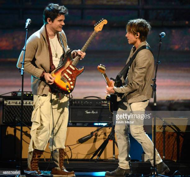 John Mayer and Keith Urban perform onstage at 'The Night That Changed America A GRAMMY Salute To The Beatles' at Los Angeles Convention Center on...