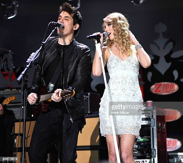 John Mayer and Taylor Swift performs onstage during Z100's Jingle Ball 2009 presented by HM at Madison Square Garden on December 11 2009 in New York...