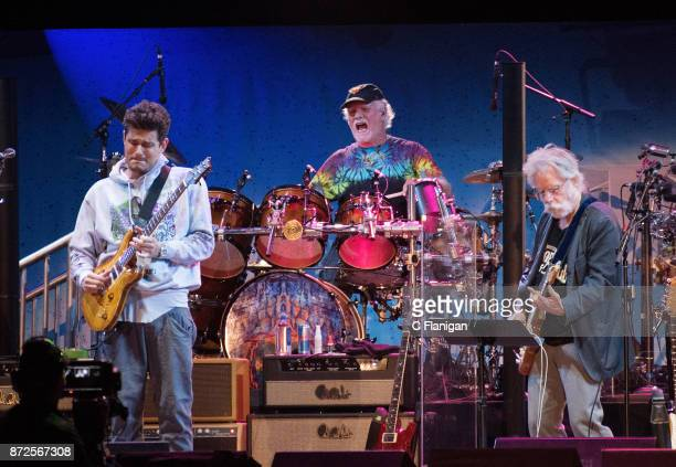 John Mayer Bill Kreutzmann and Bob Weir of Dead and Company perform during the Band Together Bay Area Benefit Concert at ATT Park on November 9 2017...