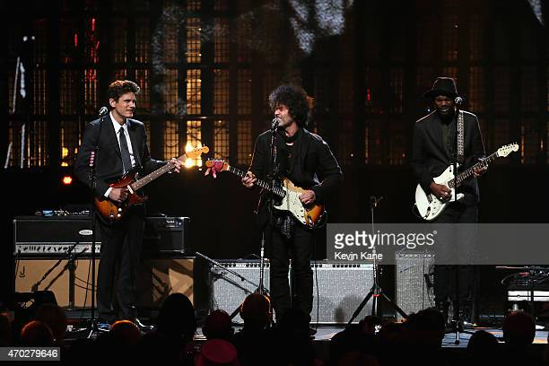 John Mayer Doyle Bramhall II and Gary Clark Jr perform songs by Stevie Ray Vaughan and Double Trouble onstage during the 30th Annual Rock And Roll...
