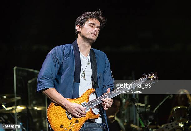 John Mayer performs as a guest at Billy Joel's concert at Madison Square Garden on October 21 2015 in New York City