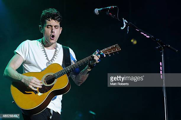 John Mayer performs live for fans at the 2014 Byron Bay Bluesfest on April 17 2014 in Byron Bay Australia