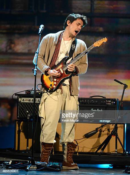 John Mayer performs onstage at The Night That Changed America A GRAMMY Salute To The Beatles at Los Angeles Convention Center on January 27 2014 in...