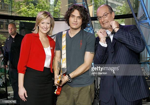 John Mayer with hosts Melissa Doyle and David Koch