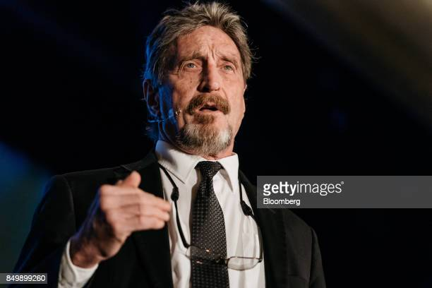 John McAfee, founder of McAfee Associates Inc. And chief cybersecurity visionary at MGTCapital Investments Inc., speaks at the Shape the Future:...