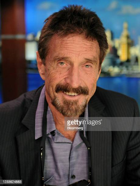 John McAfee, founder of McAfee Associates Inc., following a Bloomberg Television interview in Miami, Florida, U.S., on Friday, Dec. 14, 2012. McAfee,...