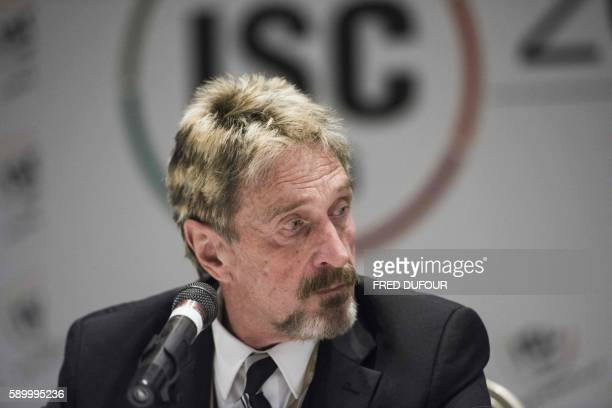 John McAfee, founder of the eponymous anti-virus company, speaks to journalists at the China Internet Security Conference in Beijing on August 16,...
