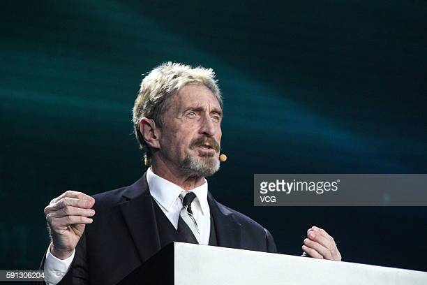 John McAfee makes speech during the China Internet Security Conference on August 16 2016 in Beijing China The conference held in the National...