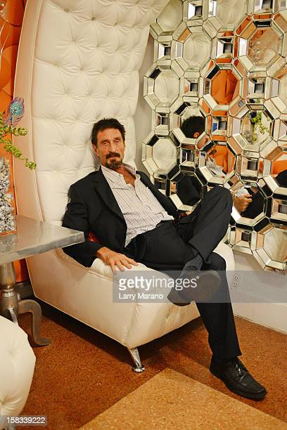 John McAfee poses for a portrait at his hotel in South Beach on December 13, 2012 in Miami Beach, Florida.