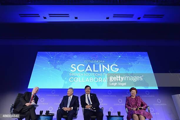John McCain Aleksander Kwasniewski Mikheil Saakashvili and Vaira VikeFreiberga appear onstage at the 2014 Concordia Summit Day 1 at Grand Hyatt New...