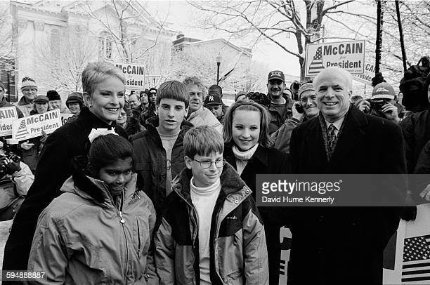 John McCain at a rally in the park with his family daughter Bridget wife Cindy sons Jack and Jimmy and daughter Meghan January 31 2000 in Keene New...