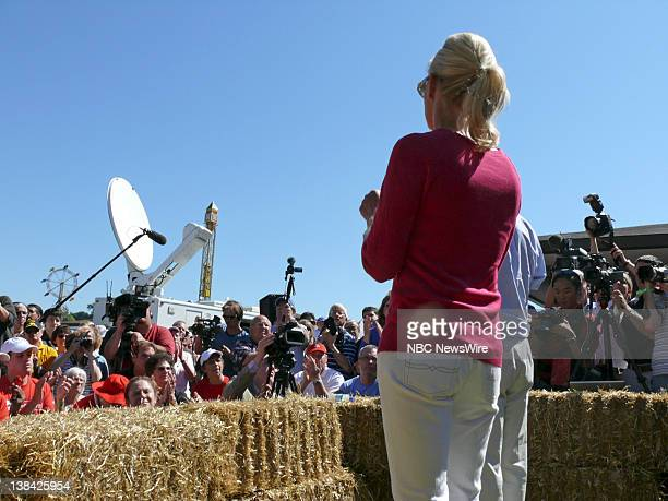 NBC NEWS John McCain Campaign Pictured Senator John McCain and wife Cindy McCain address voters at the Des Moines Register soapbox at the Iowa State...