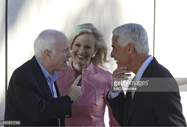 NBC NEWS John McCain Campaign Pictured Senator John McCain Cindy McCain and Governor Charlie Crist visit a polling place during the Straight Talk...