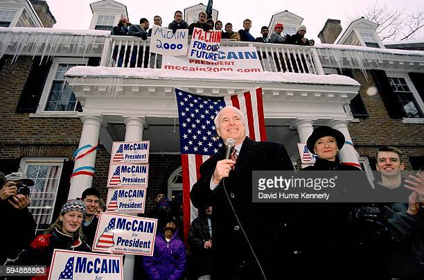 John McCain campaigns in front of a Dartmouth College frat house January 31 2000 in Hanover New Hampshire