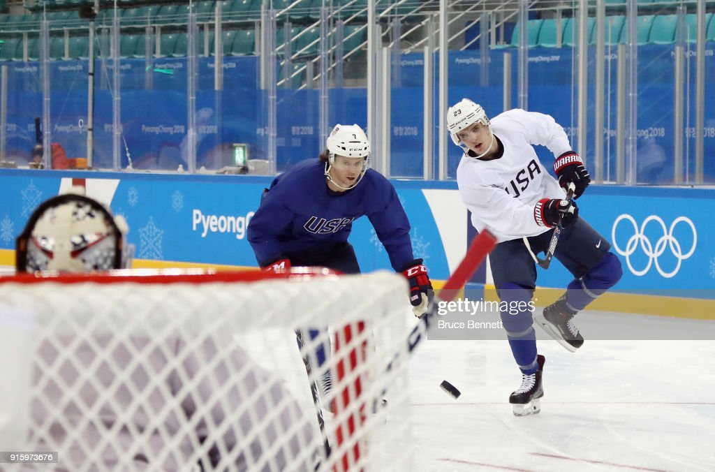 John McCarthy #7 and Troy Terry #23 of the Men's USA Ice Hockey Team practice ahead of the PyeongChang 2018 Winter Olympic Games at the Gangneung Hockey Centre on February 9, 2018 in Pyeongchang-gun, South Korea.