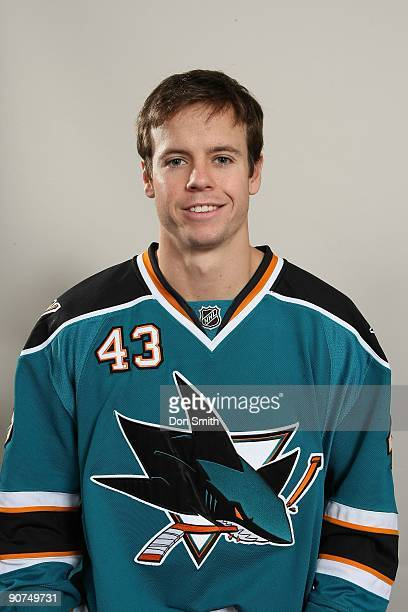 John McCarthy of the San Jose Sharks poses for his official headshot for the 20092010 NHL season