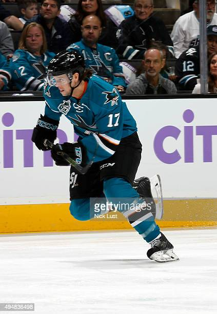 John McCarthy of the San Jose Sharks skates up the ice against the Carolina Hurricanes during a NHL game at the SAP Center at San Jose on October 24...