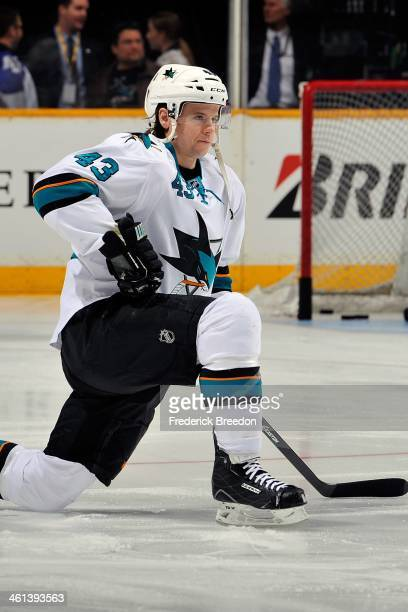 John McCarthy of the San Jose Sharks warms up prior to a game against the Nashville Predators at Bridgestone Arena on January 7 2014 in Nashville...
