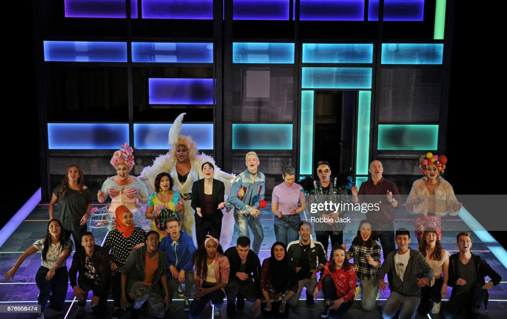 John McCrea as Jamie New with artists of the company in Tom MacRae's Everybody's Talking About Jamie directed by Jonathan Butterell at the Apollo Theatre on November 17, 2017 in London, England.