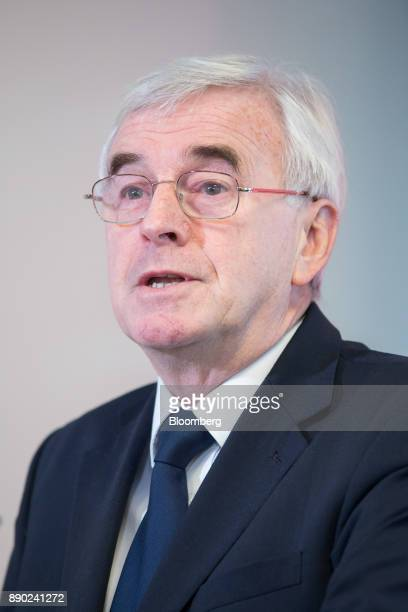 John McDonnell finance spokesman for the UK opposition Labour party delivers a speech in London UK on Monday Dec 11 2017 The Labour Party is debating...