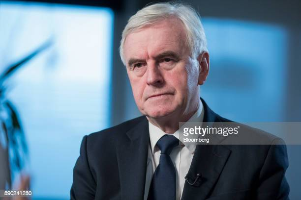 John McDonnell finance spokesman for the UK opposition Labour party pauses during a Bloomberg Television interview in London UK on Monday Dec 11 2017...