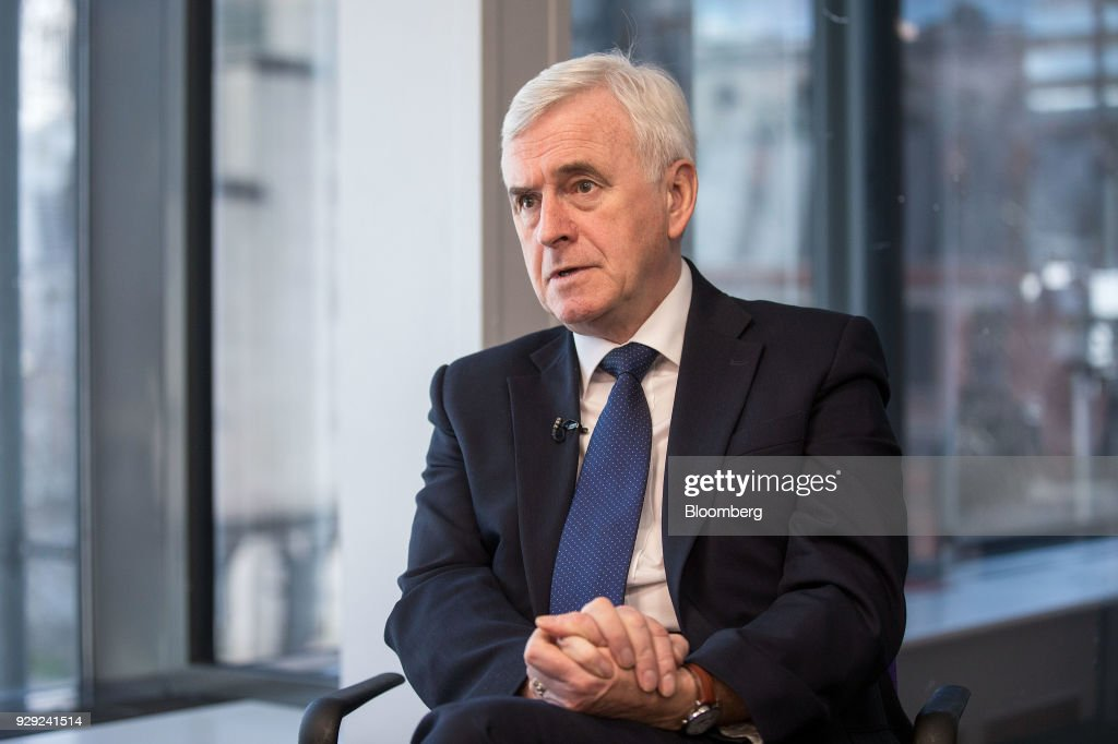 John McDonnell, finance spokesman for the U.K. opposition Labour party, speaks during a Bloomberg Television interview on the sidelines of the British Chambers Of Commerce (BCC) annual conference in London, U.K., on Thursday, March 8, 2018. Many U.K. manufacturers are considering whether to build up stocks to ease the risk of Brexit-related trade delays, the head of one of the country's biggest business lobby groups said, after Airbus SE flagged the issue. Photographer: Simon Dawson/Bloomberg via Getty Images