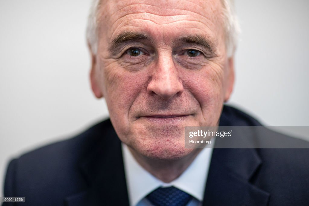 John McDonnell, finance spokesman for the U.K. opposition Labour party, poses for a photograph prior to a Bloomberg Television interview on the sidelines of the British Chambers Of Commerce (BCC) annual conference in London, U.K., on Thursday, March 8, 2018. Many U.K. manufacturers are considering whether to build up stocks to ease the risk of Brexit-related trade delays, the head of one of the country's biggest business lobby groups said, after Airbus SE flagged the issue. Photographer: Simon Dawson/Bloomberg via Getty Images