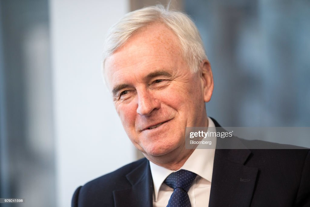 John McDonnell, finance spokesman for the U.K. opposition Labour party, reacts during a Bloomberg Television interview on the sidelines of the British Chambers Of Commerce (BCC) annual conference in London, U.K., on Thursday, March 8, 2018. Many U.K. manufacturers are considering whether to build up stocks to ease the risk of Brexit-related trade delays, the head of one of the country's biggest business lobby groups said, after Airbus SE flagged the issue. Photographer: Simon Dawson/Bloomberg via Getty Images