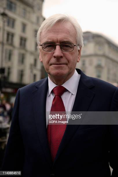 John McDonnell seen during the rally Protesters marched through central London to a rally in Trafalgar Square demanding better salary and workers...