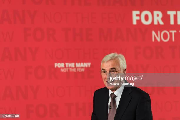 John McDonnell Shadow Chancellor of the Exchequer announces the party's fiscal plans at the Museum of London Docklands in London as a part of a...