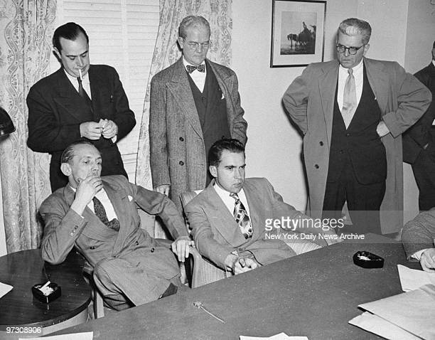 John McDowell and Rep Richard Nixon and Chief Investigator for House on UnAmerican Activities Robert E Stripling US Assistant Attorney General F X...
