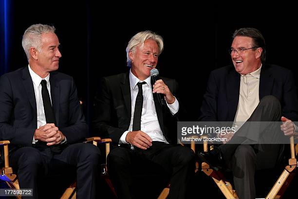 John McEnore Bjorn Borg and Jimmy Connors on stage during the ATP Heritage Celebration at The Waldorf=Astoria on August 23 2013 in New York City