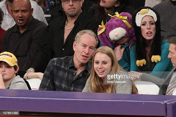 John McEnroe and his daughter Anna McEnroe attend a game between the Memphis Grizzlies and the Los Angeles Lakers at Staples Center on January 2 2011...