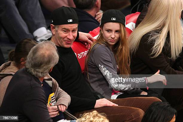 John McEnroe and his daughter Ava attend the Los Angeles Lakers vs Utah Jazz NBA basketball game at the Staples Center on December 28 2007 in Los...