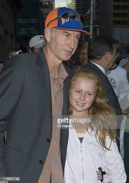 John McEnroe and his daughter Ava during John McEnroe and Artie Lang Visit the Late Show with David Letterman August 24 2006 at Ed Sullivan Theatre...