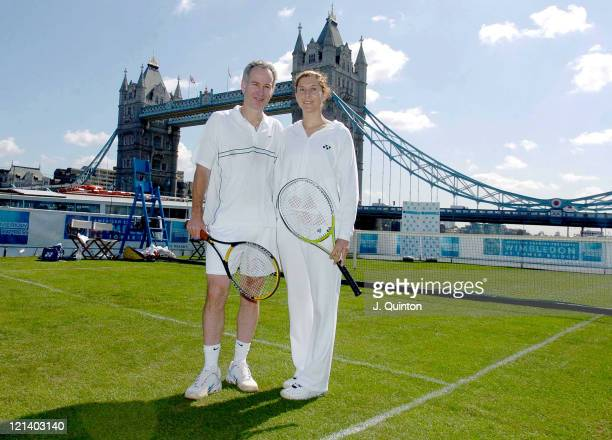 John McEnroe and Monica Seles during Wimbledon on Water Photocall at The River Thames in London Great Britain