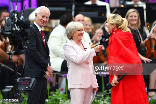 John McEnroe and Sue Barker speak with Paloma Faith during the Wimbledon No 1 Court Celebration in support of the Wimbledon Foundation at All England...