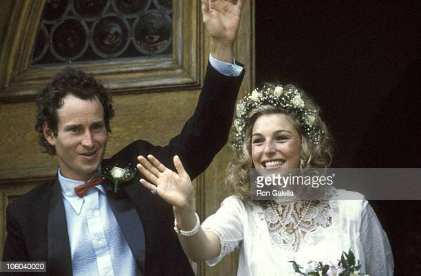 John McEnroe and Tatum O'Neal during Wedding of John McEnroe and Tatum O'Neal August 1 1986 at St Dominic's Church in Oyster Bay New York United...