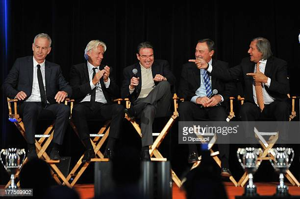 John McEnroe Bjorn Borg Jimmy Connors John Newcombe and Ilie Nastase attend the ATP Heritage Celebration at The Waldorf=Astoria on August 23 2013 in...