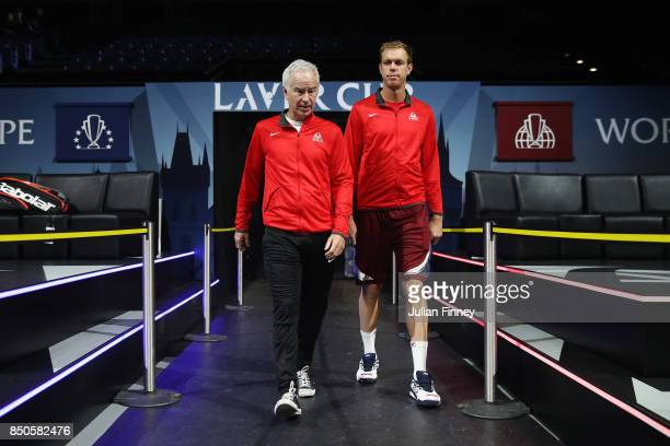 John Mcenroe Captain of Team World and Sam Querrey of Team World arrive for practice during previews ahead of the Laver Cup on September 21 2017 in...