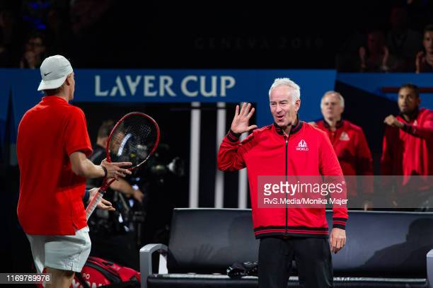 John McEnroe Captain of Team World celebrates a point with Denis Shapovalov of Team World during Day 1 of the Laver Cup 2019 at Palexpo on September...