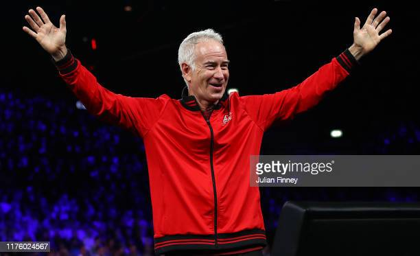 John McEnroe, Captain of Team World celebrates during the doubles match between Roger Federer and Alexander Zverev of Team Europe and Jack Sock and...