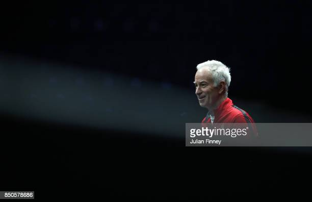 John Mcenroe Captain of Team World looks on during practice ahead of the Laver Cup on September 21 2017 in Prague Czech Republic The Laver Cup...