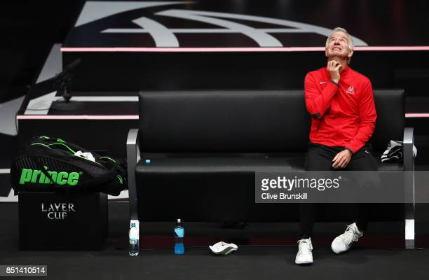 John Mcenroe Captain of Team World reacts as Dominic Thiem of Team Europe plays his singles match against John Isner of Team World on the first day...