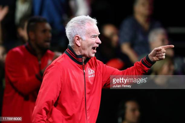 John McEnroe Captain of Team World reacts in the singles match between Denis Shapovalov of Team World and Dominic Thiem of Team Europe during Day One...